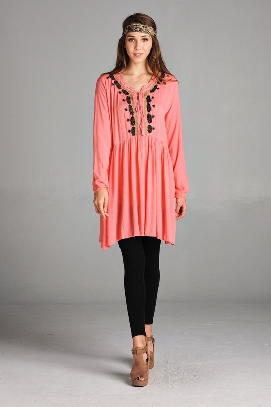 Fullsleeved floral embroidered dress - orangeshine.com