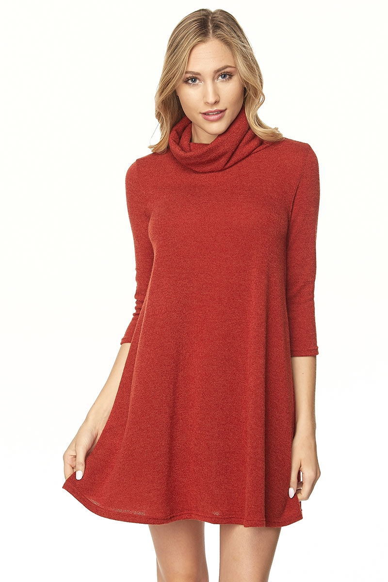 TURTLE NECK LONG SLV A-LINE DRESS - orangeshine.com