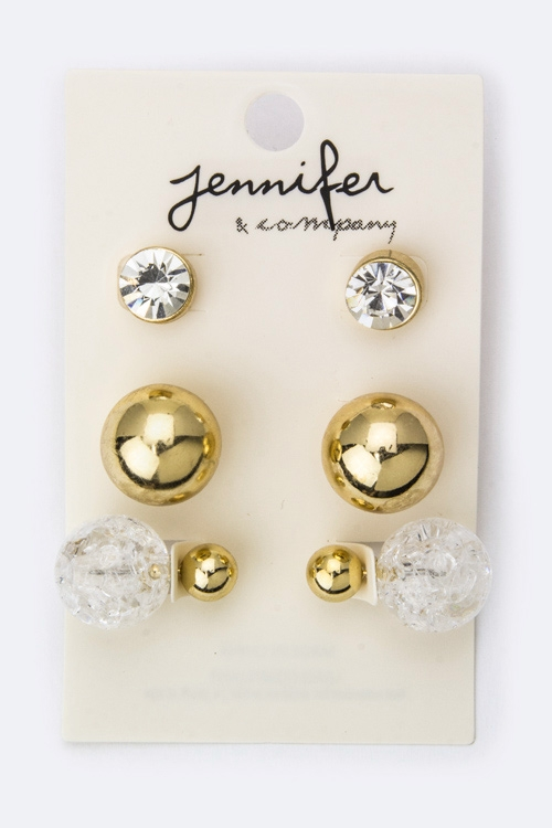 Crystal  Glass Ball Back Studs - orangeshine.com