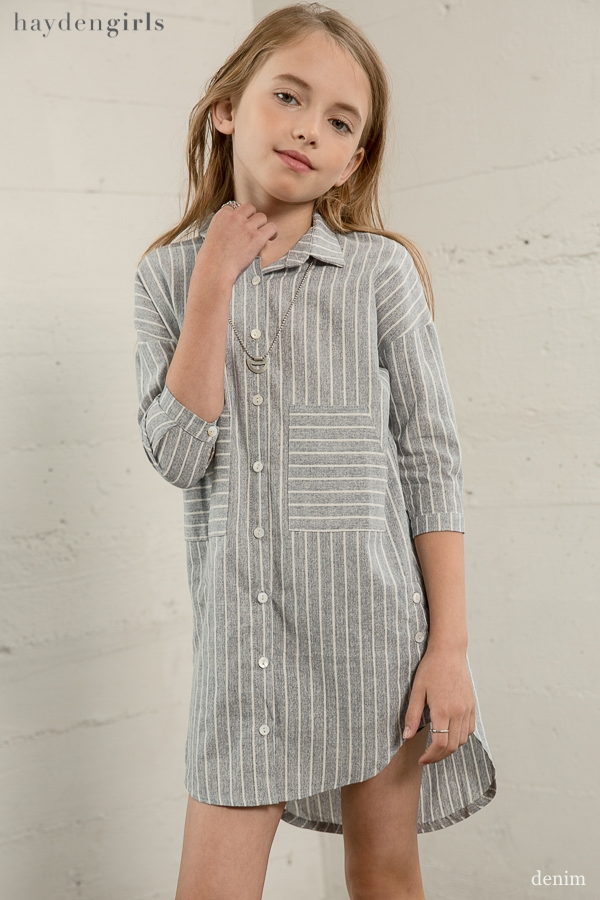 Stripe Shirt Dress - orangeshine.com