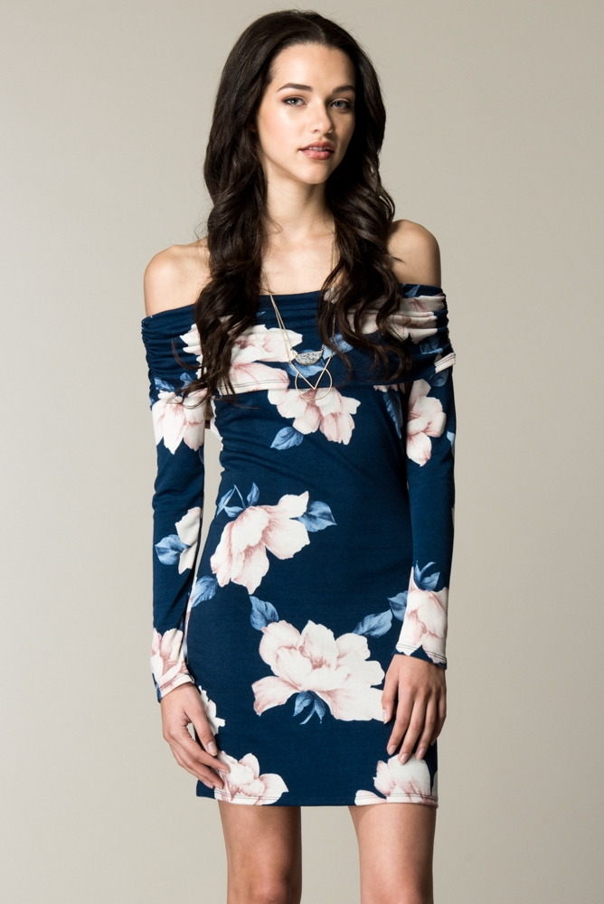 OFF SHOULDER FOLD OVER PRINT DRESS - orangeshine.com