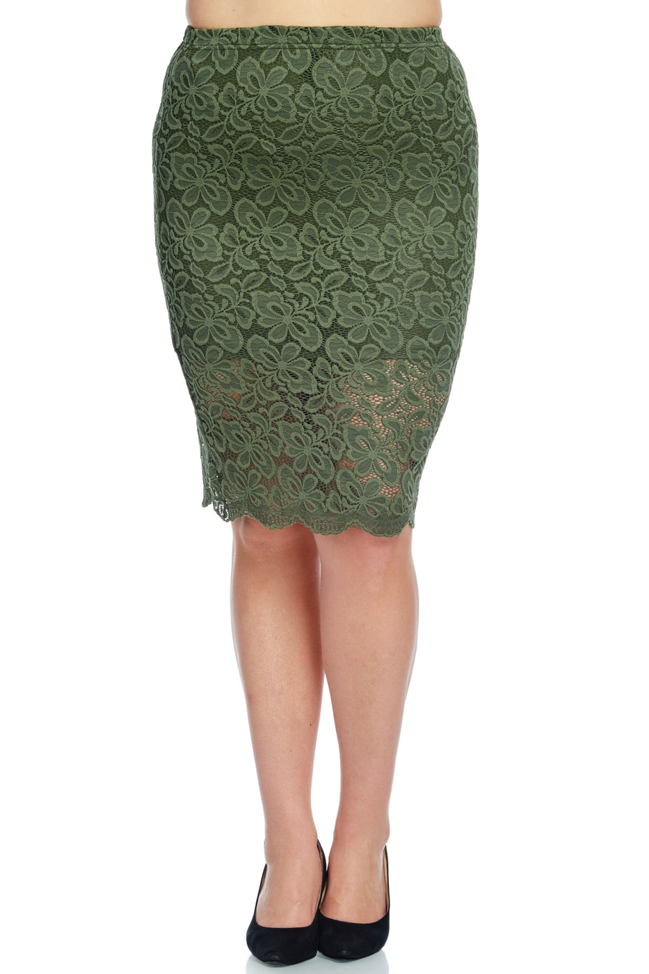 FLORAL LACE PLUS SKIRT - orangeshine.com