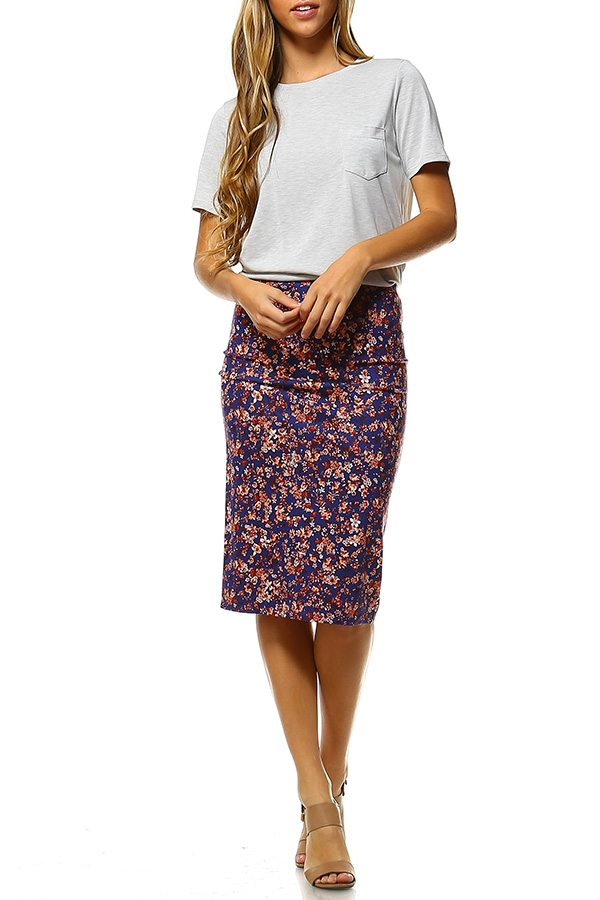 FLORAL PRINT MID PENCIL SKIRT - orangeshine.com