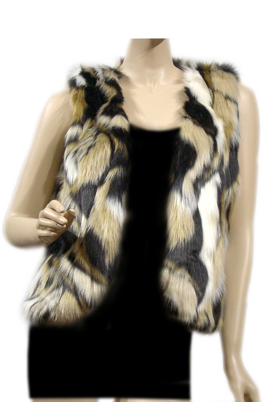 FAUX FUR COZY VEST) - orangeshine.com