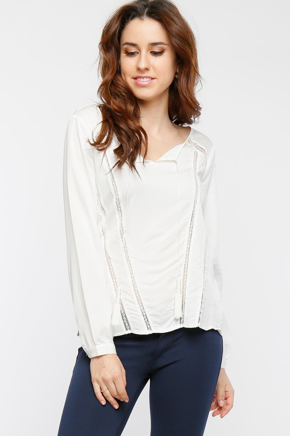 Cuff Sleeve Woven Top w/ Lace - orangeshine.com