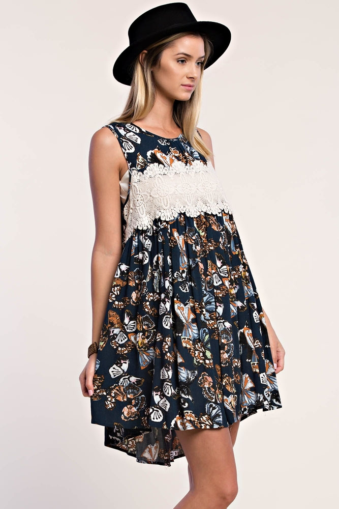 SLEEVELESS PRINT DRESS - orangeshine.com