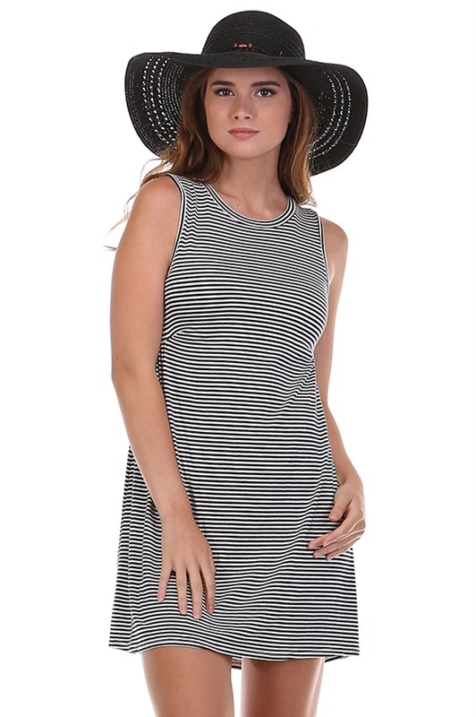PIN STRIPED A-LINE SWING DRESS - orangeshine.com