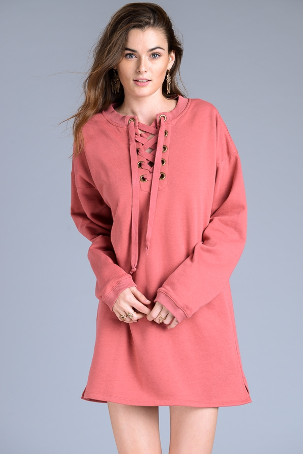 LACE UP SWEATER DRESS - orangeshine.com
