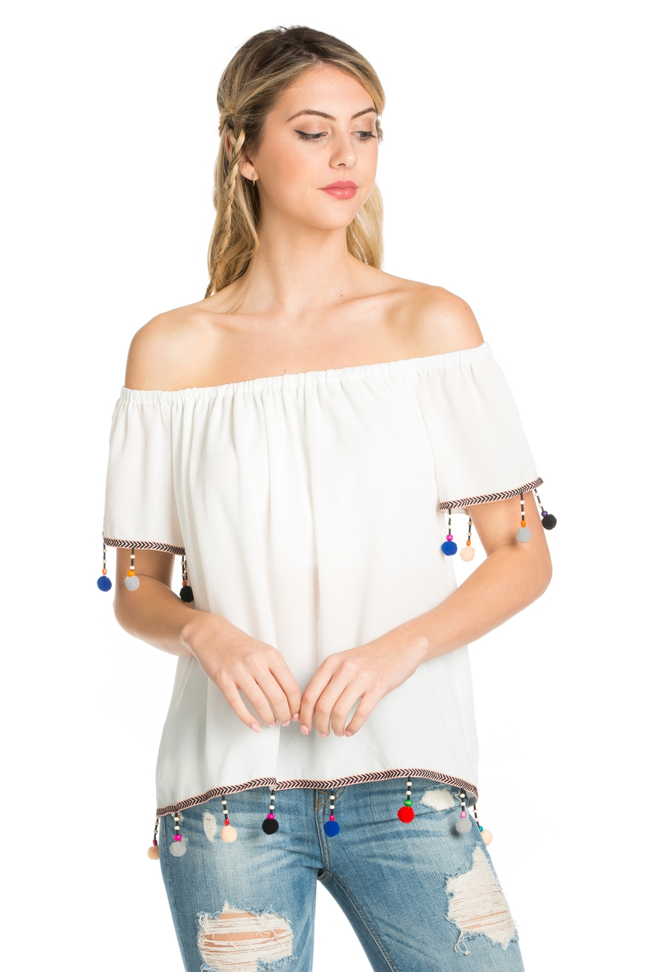 SLEEVE & BOTTOM MULTI COLOR TRIM TOP - orangeshine.com