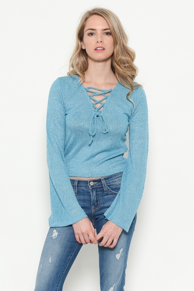 Bell Sleeve Lace Up Top - orangeshine.com