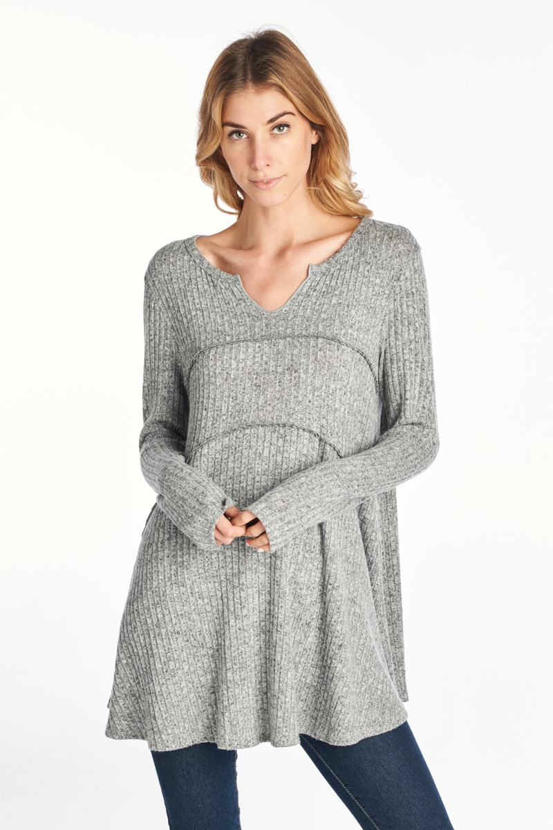 THICK KNITTED LONG SLEEVE TOP. - orangeshine.com