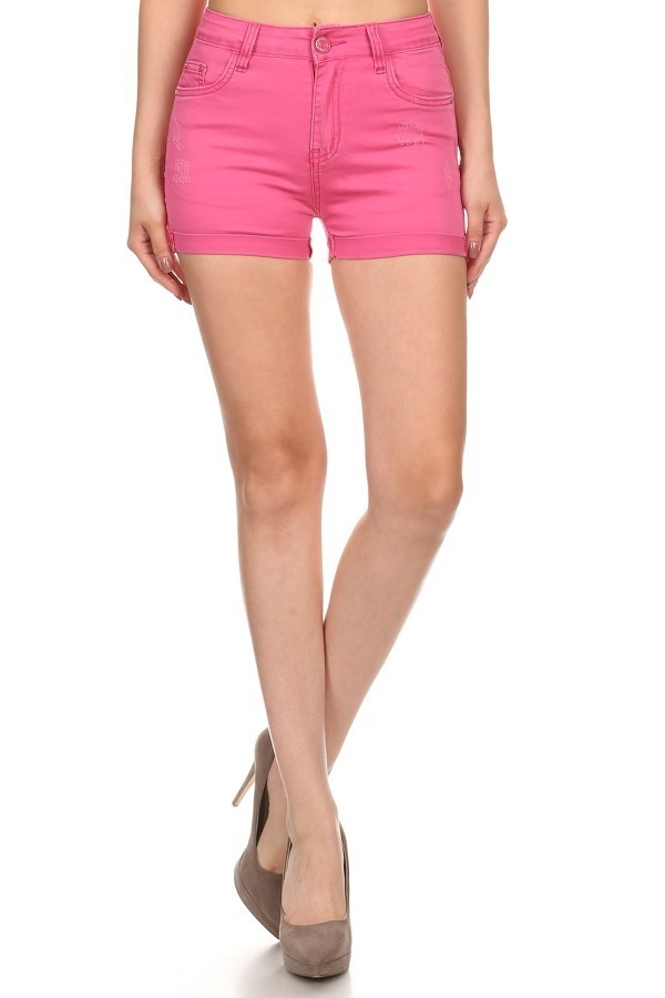 PINK CUFFED HEM HOT SHORTS - orangeshine.com