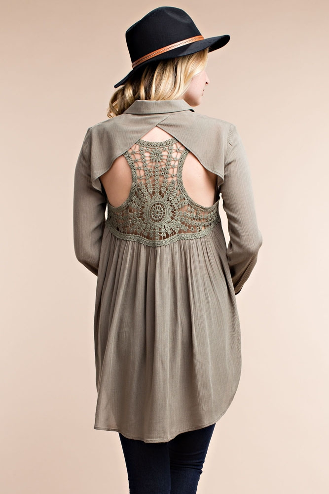 Back Detailed Blouse - orangeshine.com