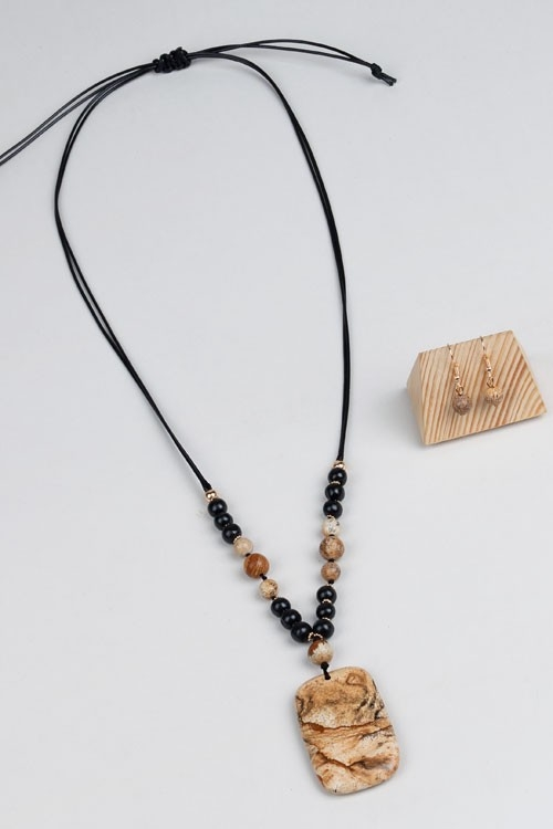 WOOD AND NATURAL STONE NECKLACE  - orangeshine.com