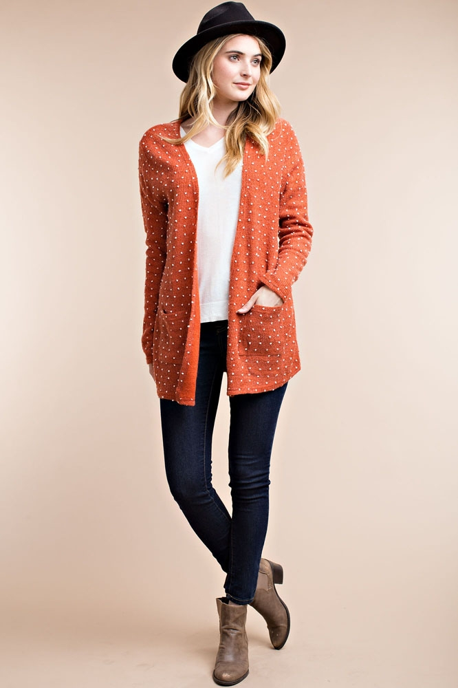 POLKA DOT SNOW FLAKE CARDIGAN - orangeshine.com