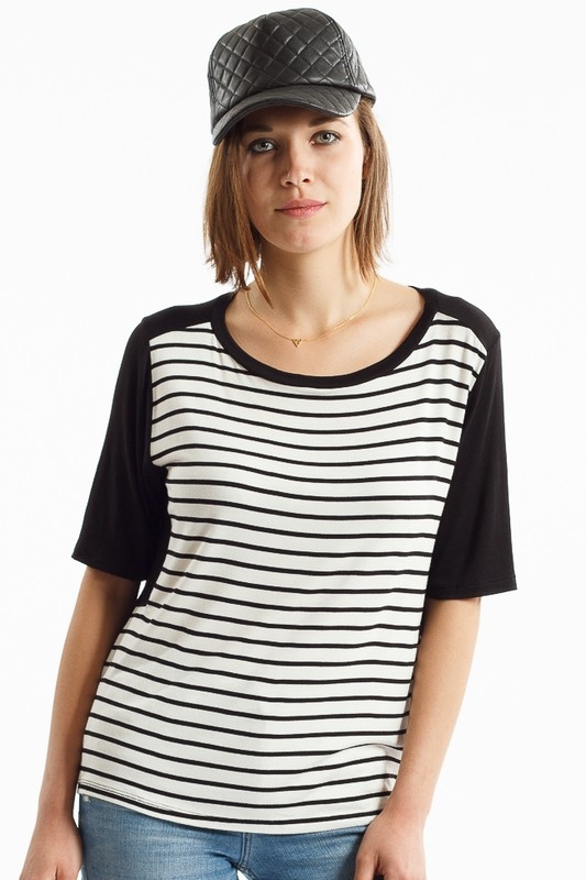 SHEER CONTRAST BACK PIN STRIPED TOP - orangeshine.com
