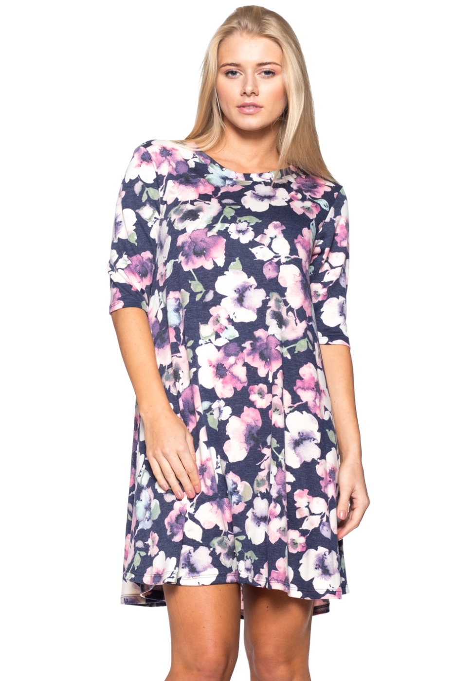 FRENCH TERRY FLORAL PRINT DRESS - orangeshine.com