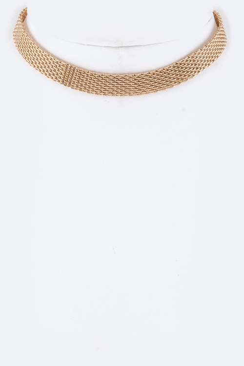 Metal Mesh Choker Necklace - orangeshine.com