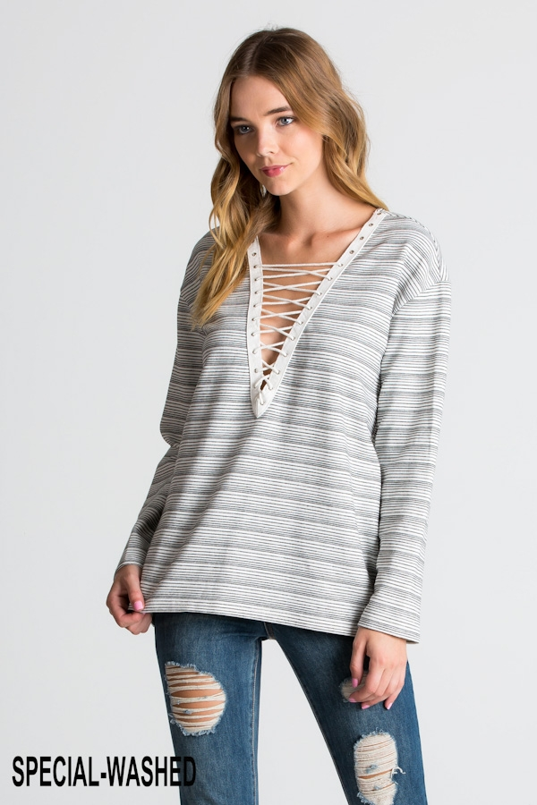 STRIPE KNIT TERRY PULLOVER - orangeshine.com
