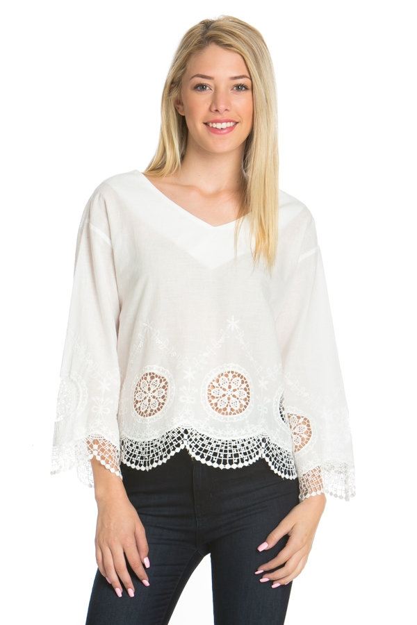 WOVEN LONG SLEEVE BELOW LACE TOP  - orangeshine.com