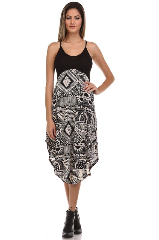 BULAGARI PRINT CONTRAST DRESS - orangeshine.com