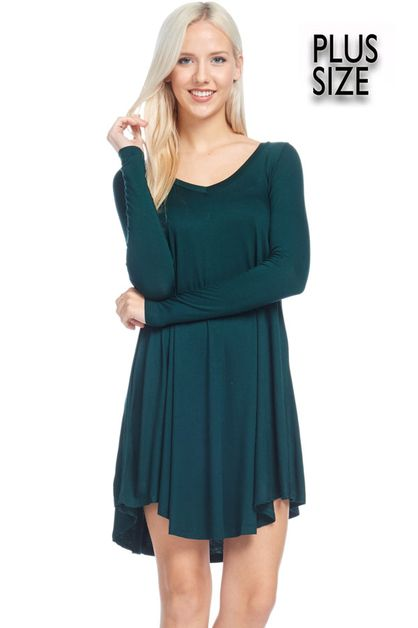 LONG SLEEVE FLARED BOTTOM dress - orangeshine.com