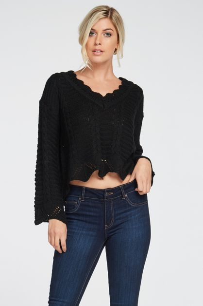 SCALLOPED HIGH-LOW CABLE SWEATER - orangeshine.com