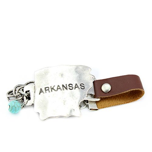 Arkansas Metal State Map Bracelet - orangeshine.com