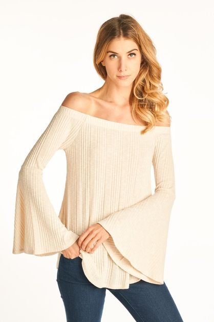 Off The Shoulder Long Sleeve Top - orangeshine.com