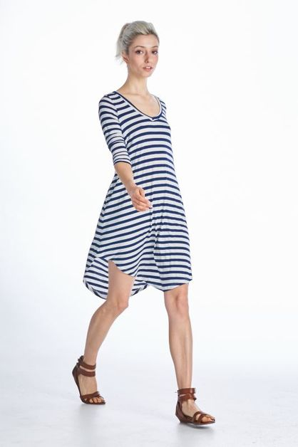 3/4 SLEEVE STRIPE DRESS - orangeshine.com