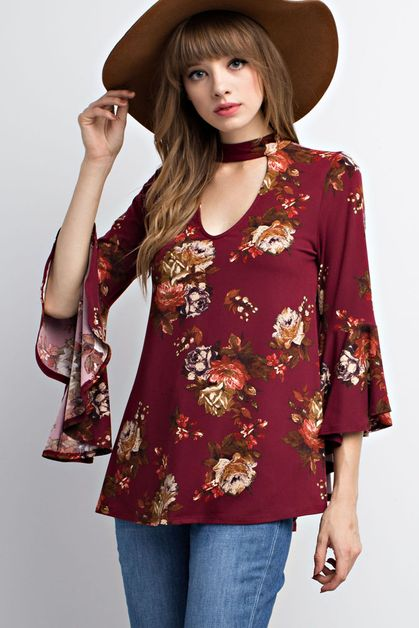 FLORAL PRINT BELL-SLEEVED KNIT TOP - orangeshine.com