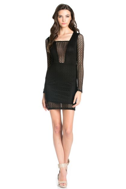 NET ILLUSION PLUNGE DRESS - orangeshine.com