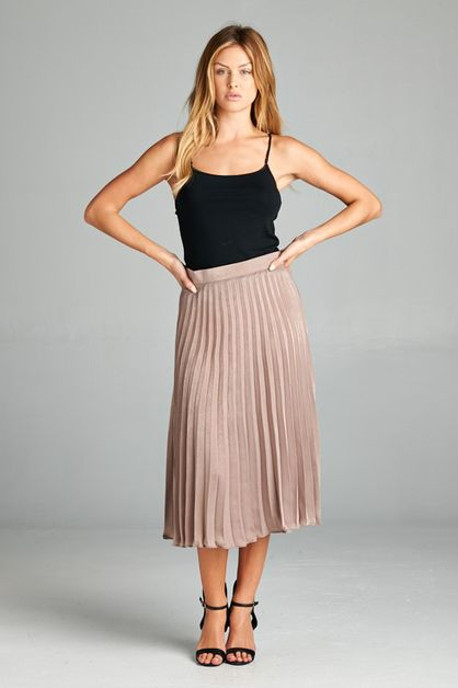 SOFT KNIFE PLEATED SKIRT - orangeshine.com