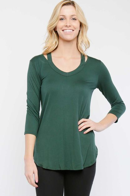 Knit V-Neck with Cut-outs - orangeshine.com