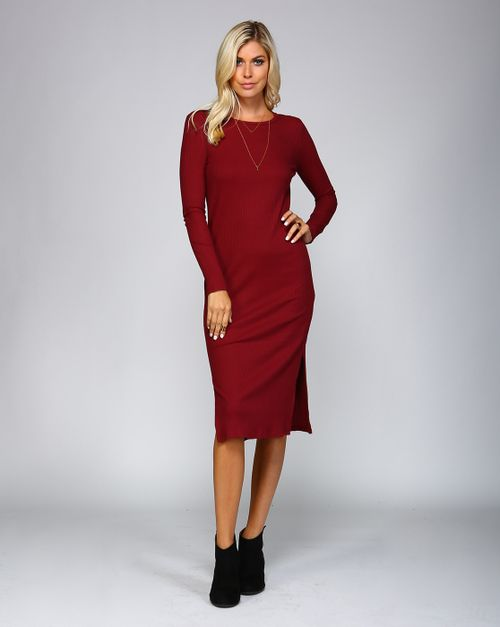 KNIT FINE RIBBED BODYCON DRESS - orangeshine.com