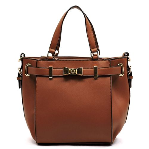 Textured Bow Satchel - orangeshine.com