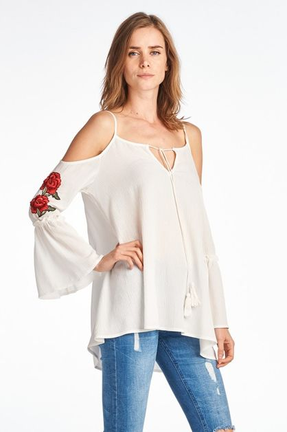 Cold Shoulder Floral Embroidered Top - orangeshine.com