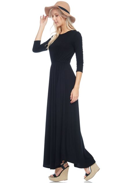 FIT AND FLARED MAXI DRESS WITH SIDE  - orangeshine.com