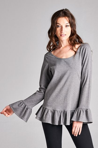 Ruffle Hem Top - orangeshine.com