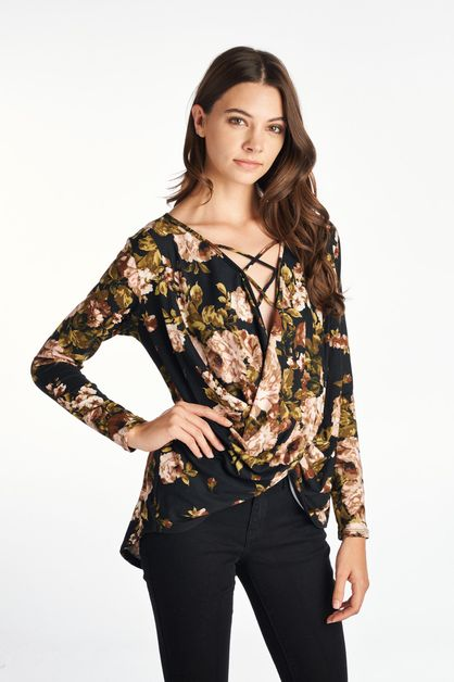 Floral Long Sleeve Surplice Top  - orangeshine.com