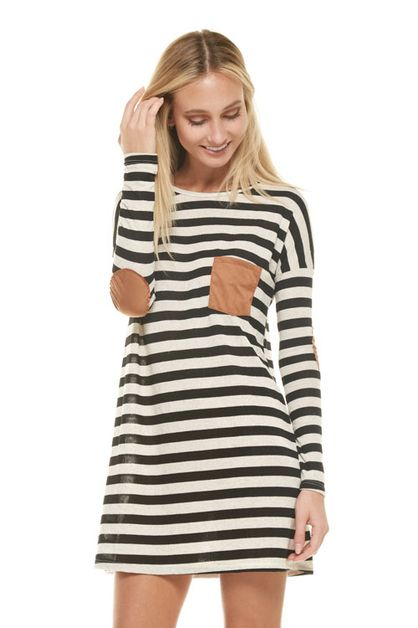 KNIT STRIPED  DRESS  - orangeshine.com
