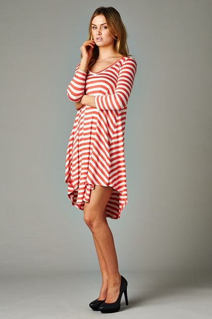 STRIPE DRESS 3/4 SLEEVE - orangeshine.com