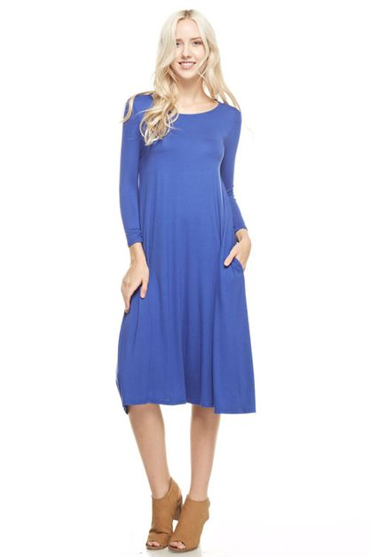 3/4 sleeve flared dress  - orangeshine.com