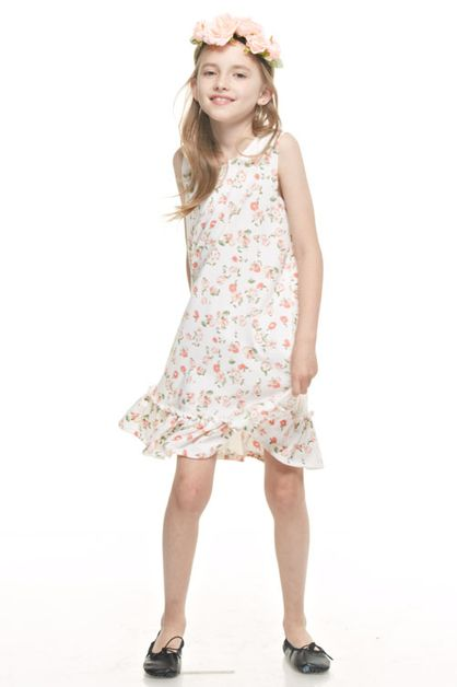 FLOWER SLEEVELESS RUFFLE DRESSES - orangeshine.com