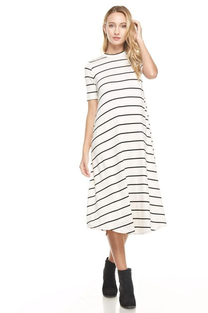 1/2 sleeve mock neck striped dress - orangeshine.com