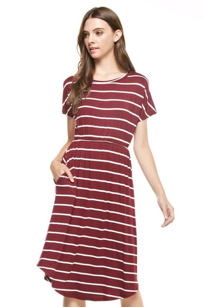 Stripe midi flared dress - orangeshine.com