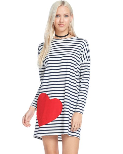 Red Big Heart Patched Casual Striped - orangeshine.com