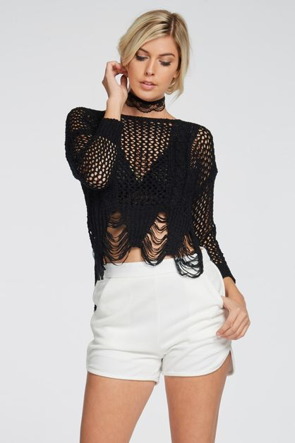 TEXTURED CROCHET TOP - orangeshine.com
