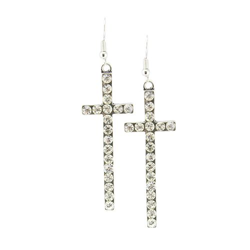 Crystal Cross Fish Hook Earrings  - orangeshine.com