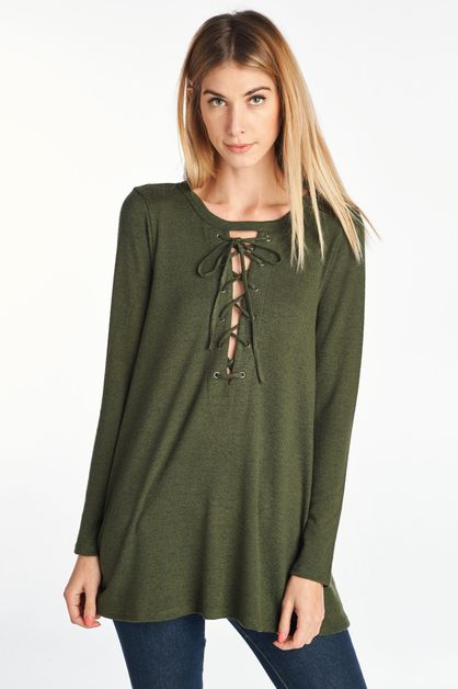 Long Sleeve Lace Up Top - orangeshine.com